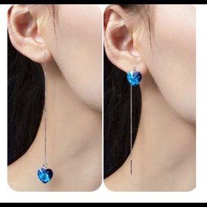 Jewelry - NWT Heart Crystal Long Two-Style Love Earrings